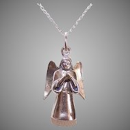 Vintage STERLING SILVER Charm or Pendant - Angel with Hands in Prayer!
