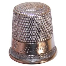 Vintage Simons Bros Sterling Silver Thimble | Size 9 Engraved Marion