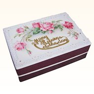 C.1900 FRENCH Pharmacy Box/Gift Box - Victorian Graphic Front - Pink Roses - Happy Birthday
