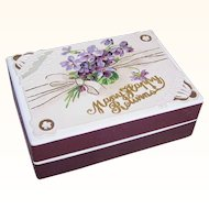 C.1900 FRENCH Pharmacy Box/Gift Box - Victorian Graphic Front - Violets - Happy Birthday