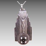 Art Deco FRENCH Silverplate & Enamel Award Medal or Pendant - Ville de Tourcoing!