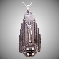 Art Deco FRENCH Silverplate & Enamel Award Medal or Pendant - Ville de Tourcoing!