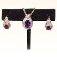 Vintage STERLING SILVER Vermeil, Amethyst & Diamond Set - Earrings & Pendant!