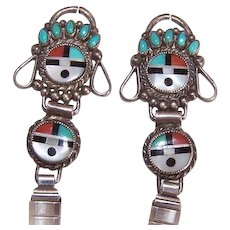 Vintage STERLING SILVER & Inlaid Stone ZUNI Watch Strap Ends (or Earrings)!