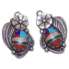 Southwestern Sterling Silver Stone Inlay Earring Drops