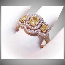 ESTATE 18K Gold (Rose Gold) & 1.90CT TW Diamond (Yellow & White) Engagement Ring, Wedding Ring or Fashion Ring!