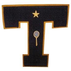 "C.1940 Chenille & Felt ""T for TENNIS"" Sports Letter with Gold Star & Tennis Racquet/Tennis Racket!"