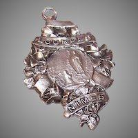 Vintage FRENCH SIlverplate Religious Souvenir Medal - The Virgin Mary & Saint Bernadette at Lourdes!