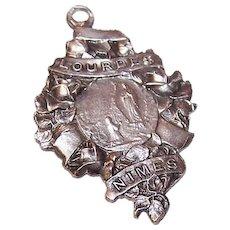 French Silverplate Religious Pendant Medal Charm - Virgin Mary, Saint Bernadette, Lourdes France
