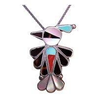 Zuni Native American Sterling Silver Inlaid Stone Thunderbird Pin or Pendant