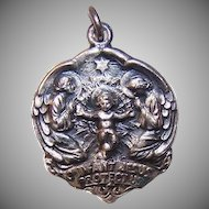Interesting VINTAGE Silverplate Religious Medal or Pendant - Infant Jesus Surrounded by Angels!