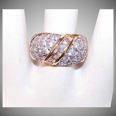 Vintage STERLING SILVER Vermeil & Cubic Zirconia/CZ Fashion Ring!