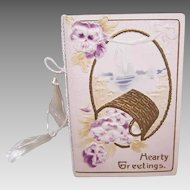 Unused ANTIQUE VICTORIAN Greeting Card - Hearty Greetings - Basket of Pansies!