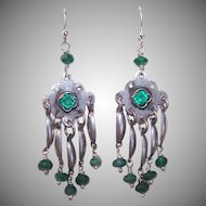 Upcycled STERLING SILVER Earrings - Chrysoprase, Faceted Bead, Rhinestone, Drop Earrings