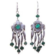 Upcycled STERLING SILVER Earrings - Chrysoprase, Faceted Bead, Rhinestone, Drop Earrings