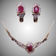 Vintage ITALIAN 10K Gold, 2.55CT TW Diamond & Ruby Jewelry Set - Necklace & Earrings (Pierced)!
