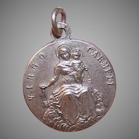 Vintage SILVERPLATE Charm - Religious, Sacred Heart of Jesus, Our Lady of Carmel