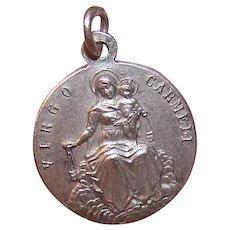 Religious Silverplate Pendant Medal Charm - Sacred Heart of Jesus, Our Lady of Carmel