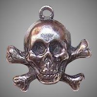 Vintage STERLING SILVER Charm - Pirates Insignia - Skull & Crossbones!