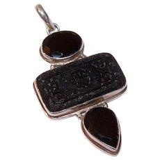 Vintage STERLING SILVER, Black Onyx & Carved Cinnabar Drop Pendant!