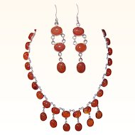 Vintage STERLING SILVER & Carnelian Demi Parure - Necklace and Earrings!