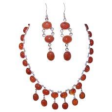 Vintage STERLING SILVER Jewelry Set - Carnelian,  Necklace, Earrings, Pierced
