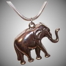 Vintage STERLING SILVER Pendant - Elephant, Upraised Trunk, Hollow, Good Luck