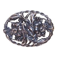 Huge Silverplate Double Floral Coat Pin