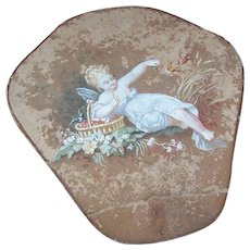 C.1880 FRENCH Handpainted Fan - Lovely Angel Feeding Berries to the Birds!