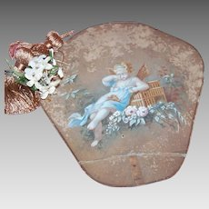 C.1880 FRENCH Handpainted Fan - Lovely Fairy Mourning the Death of a Bird