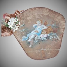 C.1880 FRENCH Handpainted Fan - Lovely Fairy Mourning the Death of a Bird!