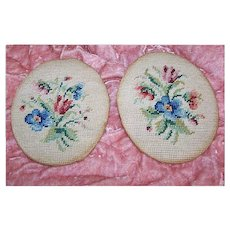 Pair of VINTAGE Needlework Panels - Ready for Framing!