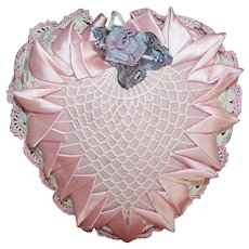Vintage Ribbonwork Crocheted HEART Pin Cushion/Sachet - Pretty in Pink & Cream!