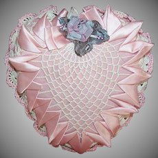 Vintage Ribbonwork Crocheted HEART Pin Cushion/Sachet - Pretty in Pink & Cream!