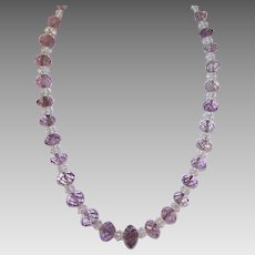 ART DECO Faceted Natural Amethyst & Rock Crystal Graduated Bead Necklace!