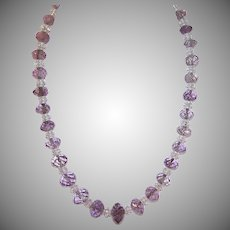 Faceted Amethyst Rock Crystal Bead Necklace