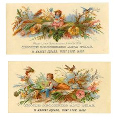 Set/2 VICTORIAN Trade Cards - Choice Groceries & Teas, West Lynn, Mass.!