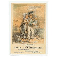 VICTORIAN Trade Card - H Sandstrom, Drugs & Medicines - Sailor and Young Girl Graphics!