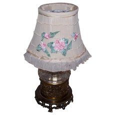 C.1930 Ladies Boudoir Lampshade/Lamp Shade - Cream Lace/Tulle with Pink Silk Flower Appliques!
