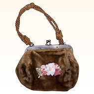 Stunning C.1910 DOLL PURSE - Moss Gold Velvet, Leather Interior, Cord Handle, Floral Decoration!
