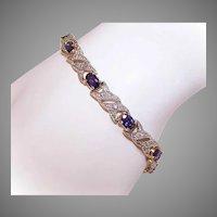 Sterling Silver Sapphire CZ Tennis Bracelet