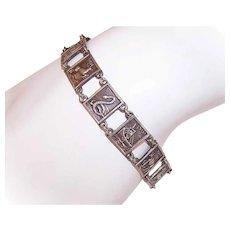 Vintage STERLING SILVER Panel Bracelet from Palestine - Ancient Images on Each Link!
