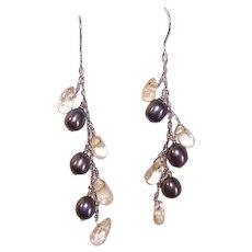 Vintage STERLING SILVER Earrings - Black, Freshwater Pearls, Clear, Quartz, Drops