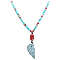 Turquoise Heishe Red Coral Bead Necklace