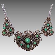 ART DECO Costume Necklace - Silver Tone Metal & Peking Glass!