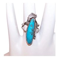 Native American Sterling Silver Turquoise Cab Ring