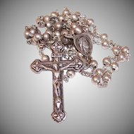 Vintage STERLING SILVER Rosary by Chapel - Virgin Mary/Jesus Crown of Thorns Center Medal!