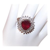 Sterling Silver Ruby Red Crystal Clear Crystal Heart Shaped Fashion Ring