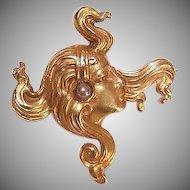 """ART NOUVEAU 14K Gold & Natural Pearl """"Lovely Lady with Flowing Hair"""" Pin/Brooch!"""