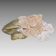 FRENCH RIBBONWORK Floral Applique/Embellishment - Cream Silk with Green Ombre/Metal Edge Leaves!